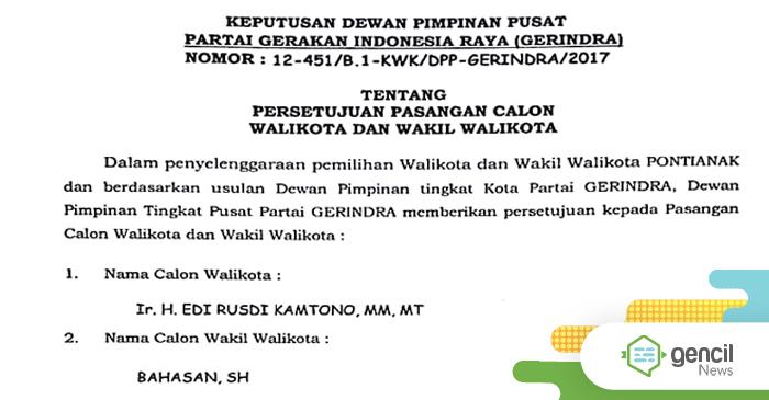 Dapat Dukungan Dari Gerindra, Edi Kamtono Kantongi Cukup Kursi Di DPRD
