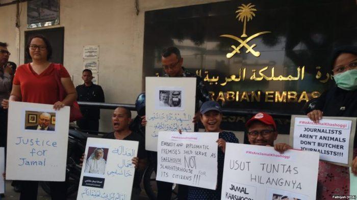 Wartawan Demo di Kedubes Arab Saudi Kecam Pembunuhan Khashoggi