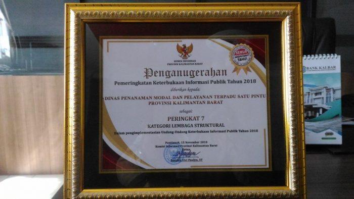 Dinas Penanaman Modal Provinsi ,Raih Anugerah Keterbukaan Informasi