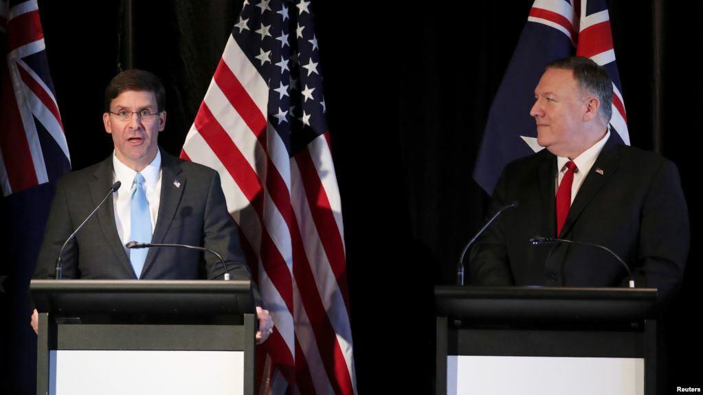 Menhan AS Mark Esper dan Menlu AS Mike Pompeo saat berkunjung ke Sydney dan mendesak Australia agar bergabung dalam usaha melawan serangan Iran terhadap pelayaran di Selat Hormuz.