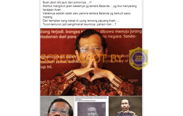 Cek Fakta : Mahfud MD Mengikuti Jejak Kakeknya Raden Ario Majang Koro yang Menjadi Penghianat