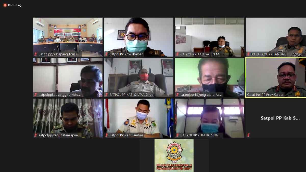 Satpol PP Rapat Virtual Bersama, Evaluasi Penerapan Prokes