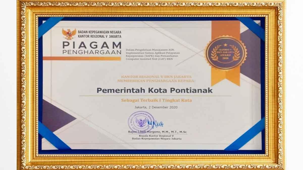 Pontianak Raih Terbaik I Manajemen ASN Penghargaan BKN Regional V