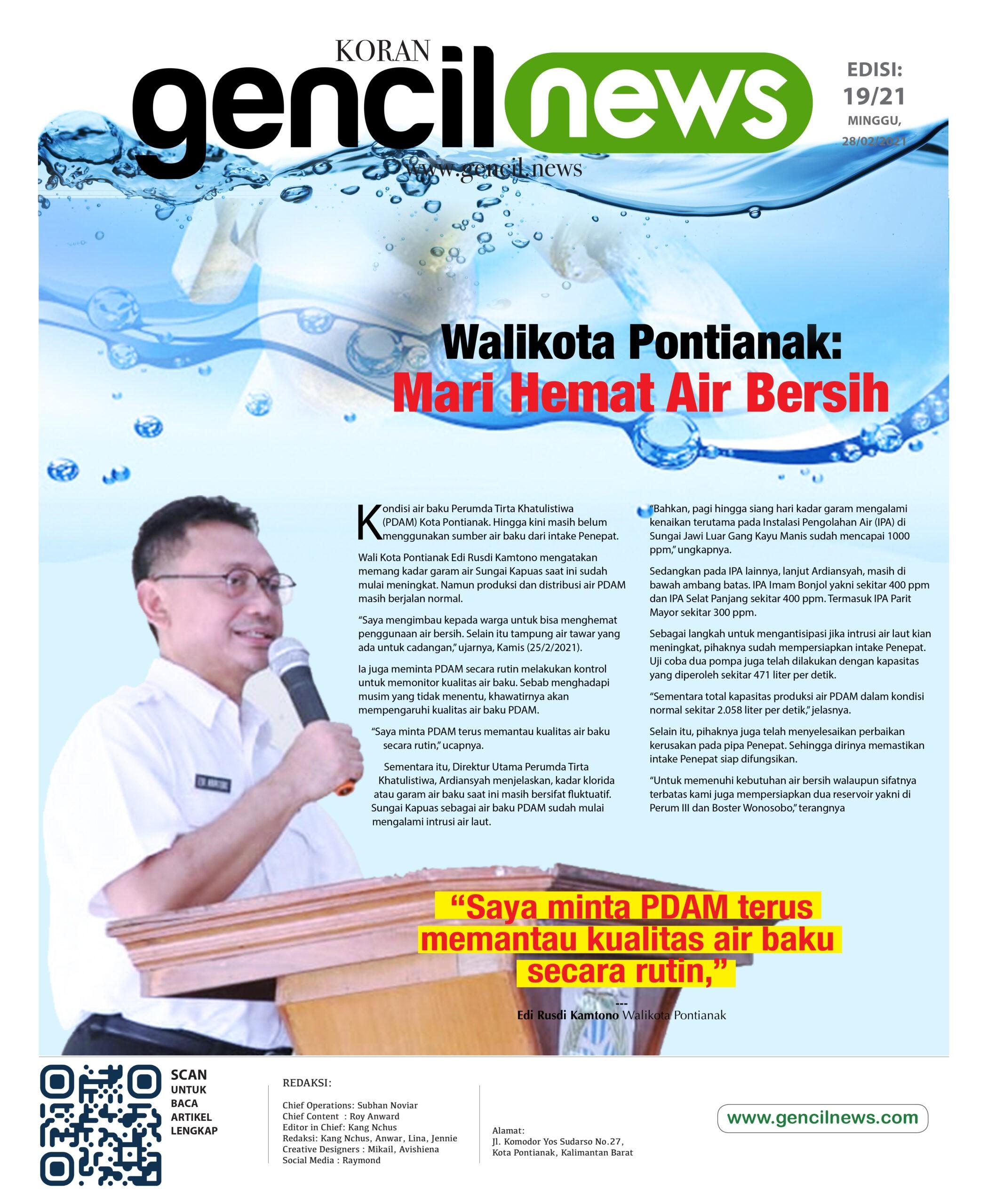 Walikota Pontianak: Mari Hemat Air Bersih