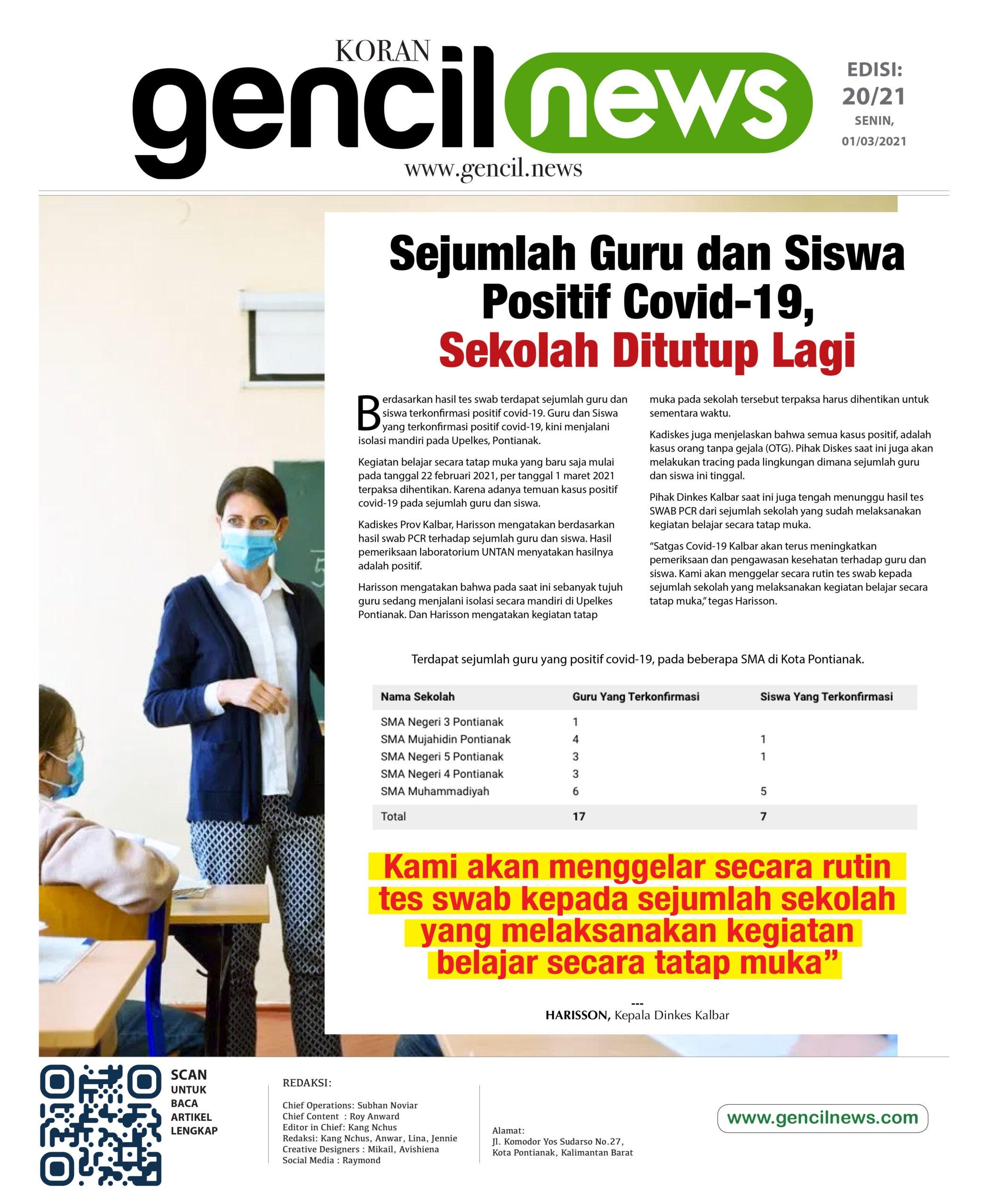 Guru dan Siswa Positif Covid-19, Sekolah Kembali Ditutup