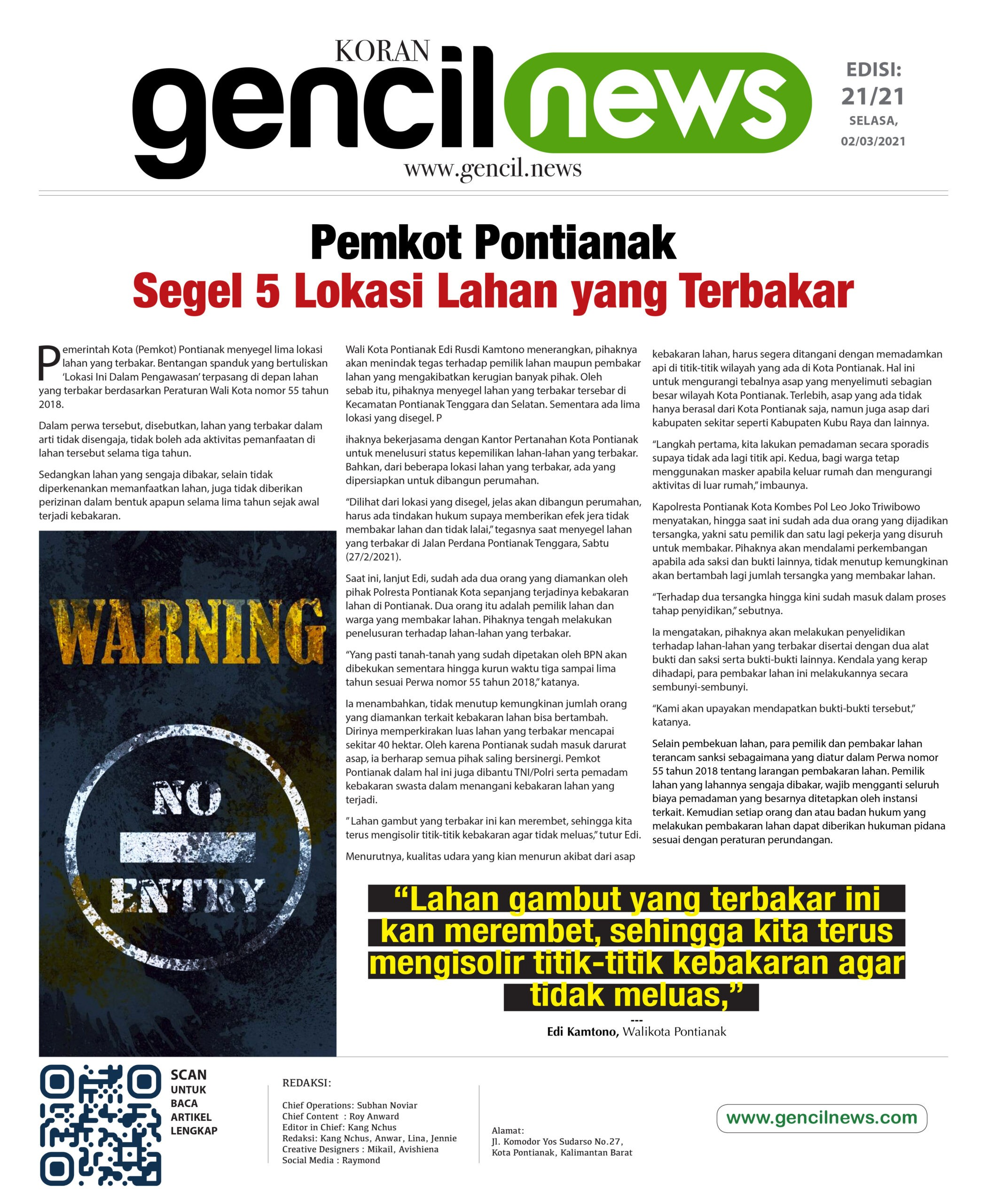 Koran Gencil News - Lahan Terbakar Disegel Pemkot Pontianak